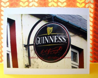 GUINNESS Pub Sign, Gift for Drunk Dad, Irish Pub, Beer Photo Card, Bar Sign, Paddy's Day, IRELAND Photography, Father's Day, 21st Birthday