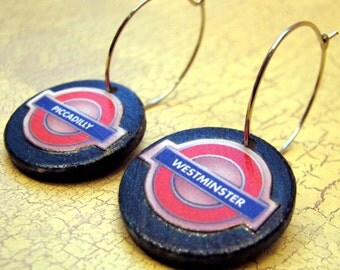 SALE, London Underground Earrings, One of a Kind, Piccadilly, Westminster, British, UK, England Souvenir Gift, Tube Jewelry, Red and Blue