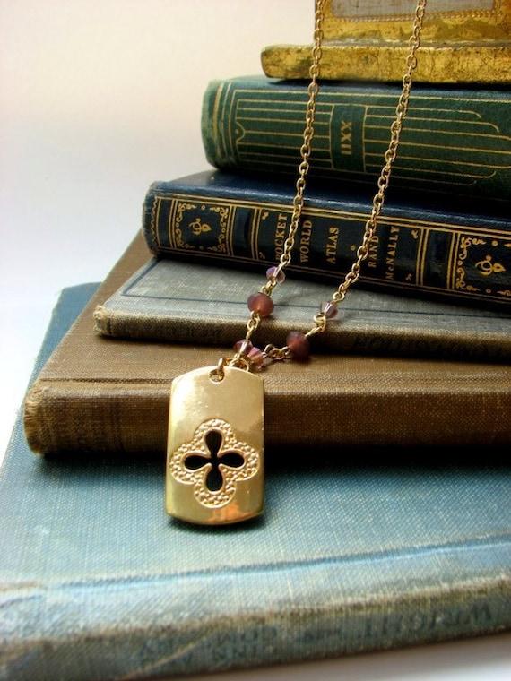 Irish Necklace with Gold Plate Quatrefoil Pendant, Purple Czech Glass Beads . Maeve