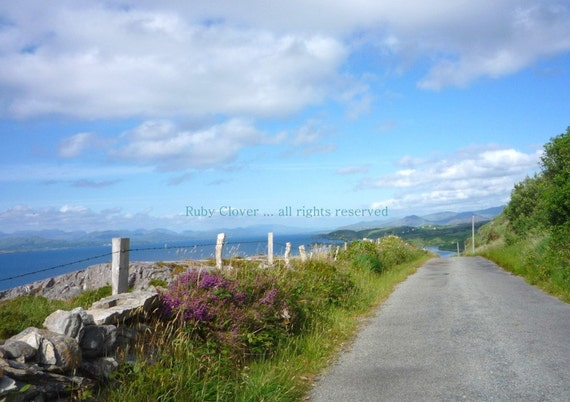 Perfect Day in Co. Cork, Ring of Beara,  Irish Landscape, Country Road, IRELAND Photography, Fluffy White Clouds and Blue Sky, Mountain Road