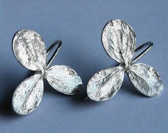 925 Sterling Silver Organic leaf Earrings by zulasurfing