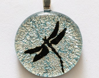 Beautiful Dichroic Glass Dragonfly Pendant Glass Silver Color by zulasurfing