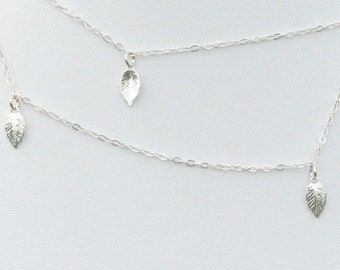 Fabulous 925 Sterling Silver Necklace with Delicate Sterling Silver leafs by zulasurfing