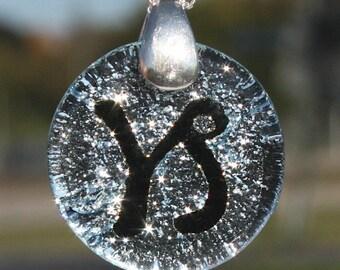silver dichroic glass zodiac sign capricorn
