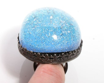 Larger than life Dichroic glass in Sterling silver cocktail ring by Zulasurfing