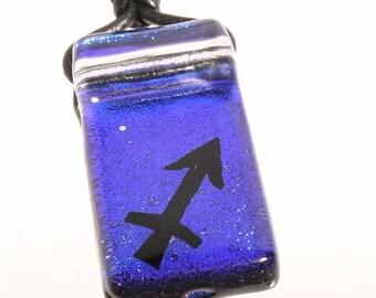 Sagittarius zodiac necklace | Blue dichroic glass jewelry | sagittarius pendant by zulasurfing