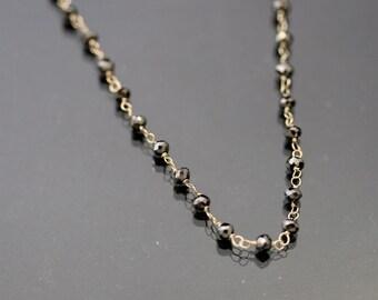 Black Diamond Diamond Bead Necklace In 18kt White Gold by zulasurfing