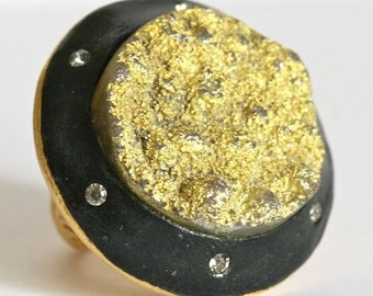 One of a kind golden druzy  with swarovski crystal gold plated ring size 6 by zulasurfing