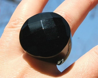 Rainbow obsidian ring hand carved stone ring size 7