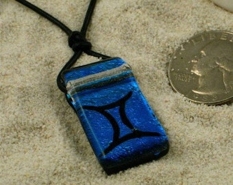 Zodiac Pendant Gemini Sign BlueFused  Dichroic Glass Pendant by zulasurfing