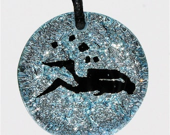 Scuba Diving Necklace  Silver color fused glass pendant leather necklace made by ZulaSurfing buy1 get1 free