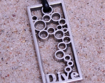 Modern Scuba Diving Sterling Silver Dive Pendant with leather cord by Zulasurfing