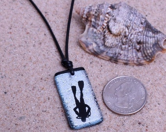 Scuba Diving Dichroic Glass Pendant Silver color with leather necklace made by ZulaSurfing