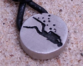 Scuba Diving Pewter Pendant leather necklace Diver Image made by ZulaSurfing  Gift