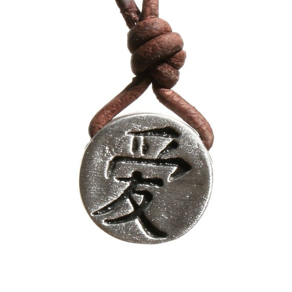 Surfer Necklace Love Symbol Chinese characters Pewter surf jewelry Pendant by zulasurfing