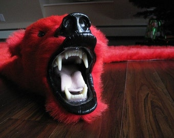 Dramatic Red Faux Bearskin Rug - Limited Edition (21)