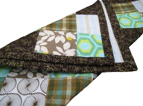 Deluxe mini baby quilt in forest floor for Floor quilt for babies