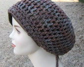 Summer slouchy hat, Terra cotton Dread Tam Dreadlock Hippie Slouchy Beanie Hat brown gray, slouch hat