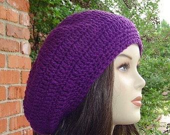 Slouchy hat, orchid purple beret hat, dread tam hat, winter hat, slouchy beanie, handmade crochet beanie, purple beanie, woman beanie