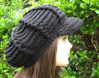 Newsboy hat, Black Visor Beanie, Newsboy cap, chunky Beanie, slouchy beanie with bill, billed slouch hat, thick visor hat, man woman cap hat