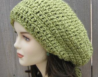 Green Plush slouchy beanie, Hippie Tam hat, Dread tam, Slouchy Hat, apple green beanie, woman beanie, warm hat, handmade slouchy hat, women