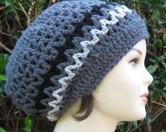 Slouchy Beanie, Charcoal Gray Dread Tam hat,  Hippie Hat,  Slouch Beanie, Handmade beanie hat, woman beanie, man hat, grey crochet hat, hat
