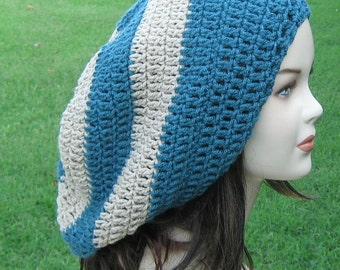Teal beige slouchy hat or Custom color choice Long Dread Tam Hippie Slouchy Beanie Tam Hat, woman or man beanie hat, baggy beanie, dreadlock