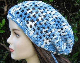 Slouchy beanie, blue slouch beanie, slouchy hat, snood beanie, Bleached Jeans Tam cotton Dreads Dreadlock Hippie Slouchy Beanie Hat