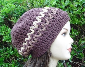 Chocolate Brown Zig Zag Slouchy beanie, small Tam hat, Hippie Bohemian handmade crochet Hat,  Slouch Beanie hat, women men beanie, BoHo hat
