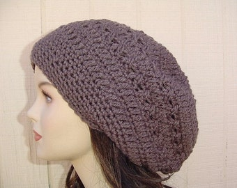 Taupe Slouchy Beanie hat, Dread tam hat, Bohemian brown beanie, slouch hat, slouchy hat, handmade crochet beanie, woman hat, gift for her