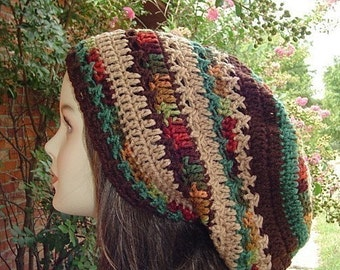 Herbst Patchwork slouchy beanie hat, Dreadlocks Hippie Dread Tam fall colors man woman fall snood hat, earthy autumn