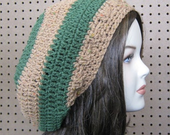 Almond Tree slouchy beanie, Hippie Dread Tam, slouch beanie hat handmade, brown green stripes, woman or man beret tam hat, winter hat