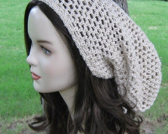 Natural Hemp Wool slouchy beanie dreadlock hippie dread tam hat
