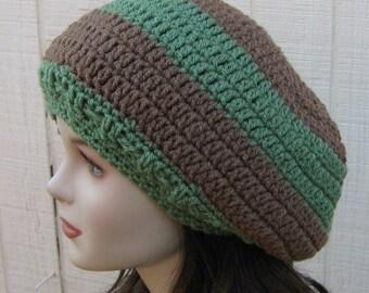 Slouchy beanie, Earthy green cafe hippie dread tam slouch beanie hat handmade, woman beanie, man slouchy hat