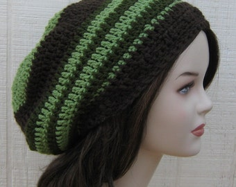 Slouchy Beanie , Tea Leaves Green Brown Dread Tam Hat, Hippie Slouch Beanie, Tam Hat, woman beanie, man hat, crochet handmade beanie, baggy