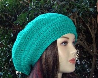 Jade Green Beret Tam Dread Hippie Beanie Hat Aquamarine, slouchy beanie, slouchy hat