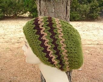 Olive green slouchy beanie, dread tam, longer zig zag hippie dreadlock dread hat, slouchy beanie hat, woman man slouch hat