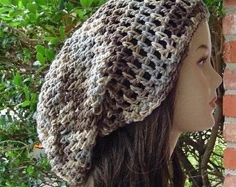 Cotton hat, sock dread tam hat, long slouchy beanie hat, dreadlocks hat, slouch hat, baggy beanie hat, crochet hat