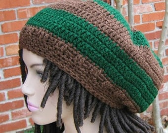 Green Brown dreadlocks hat, slouchy beanie, Hippie Dread beanie, Beret Tam, slouchy hat, woman or man beanie, handmade