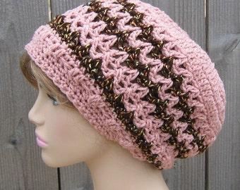 Rose pink slouchy beanie, Dread Tam Hat Hippie Dreadlock slouchy Beanie hat, slouchy hat