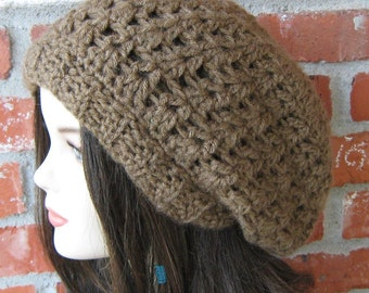 Slouchy beanie, woman winter hat, slouch beanie, slouch hat, Cocoa Soft Slouchy Brown Tam Dread Hippie Beanie Hat