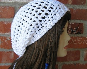 Summer slouchy beanie, white Cotton hippie dread tam hat slouchy snood beanie, woman slouchy hat