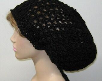 Larger black Hemp wool Hippie Dread Tam Snood hat slouchy beanie, slouchy hat, slouchy beanie