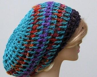 Peacock hemp Recycled sari Silk cotton slouchy beanie hippie dread tam hat, hemp banana fiber beret hat, slouchy hat, women slouchy beanie