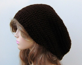 Coffee Slouchy hat, longer brown Tam Dreadlock Hippie Beanie Hat, slouch beanie, slouchy beanie man woman