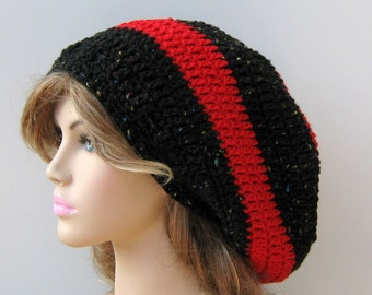 Black Cherry Dread Tam Longer Hippie Slouchy Beanie Hat red, slouchy hat, dreadlocks hat
