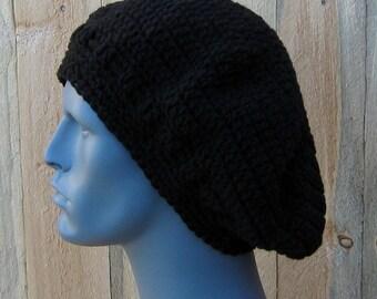 Black Beret, Man hat, Artist hat, slouchy beanie, slouch hat, woman hat, Dread tam, Slouchy hat, Crochet Hippie Beanie Hat, handmade hat