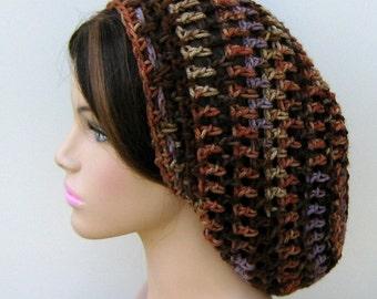 Soft slouchy beanie, Brown Lavender hat, small Dread Tam hat, Slouchy Beanie, Hippie Snood Hat women hat slouch beanie