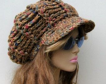 Newsboy cap, Visor Tam Newsboy Hat Hippie Slouchy Beanie thick vegan Southwest Desert