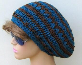 Slouchy beanie, soy hemp wool Dread Beret Slouchy Beanie Hippie Tam Hat blue brown slouchy hat, slouch beanie, slouch hat